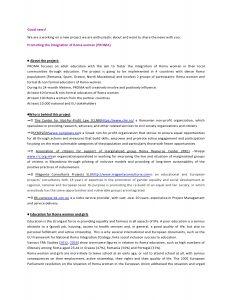 """Проект """"Унапредување на интеграцијата на жената Ромка (PROMA)"""""""